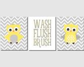 Yellow Gray Bathroom Wall Art Owl Bathroom Decor Kids Bathroom Art, Owls, Wash, Brush, Flush, Chevron Bathroom Rules Canvas Option  Set of 3