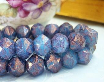 Czech 10mm amethyst blue purple english cut beads,  (15) beads per strand - GN200