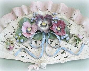 Elegant Clay Flower Fan Decor Hand Fan Decoration Floral Fan Decorative Fan Victorian Fan Lace Fan Shabby Chic Feminine Romantic Bedroom