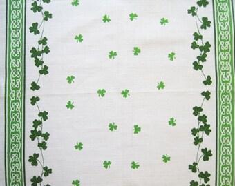 Nelson Vintage Souvenir Irish Linen Tea Kitchen Dish Towel Celtic Knot Shamrock Clover Leaf Green White