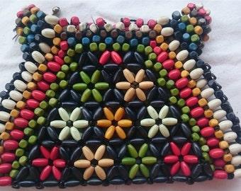 Vintage Multi Colored Beaded Modernist Go Go Clutch Bag Purse 1960's Wood Beads