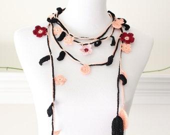 Crocheted Burgundy, Orange, Black Lariat Necklace, Scarflette