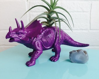 Purple Triceretops air plant holder, dinosaur, air plant, toy, Tillandsia, home decor, indoor plant, kids room decor, green thumb, fun decor
