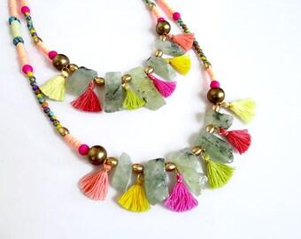 Colorful Tassel Necklace, Prehnite Necklace, Bohemian Beaded Necklace, Boho Necklace