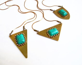Turquoise Pendant Necklace, Long Geometric Statement Necklace, Triangle Necklace, Boho Necklace, Teal Gold Necklace