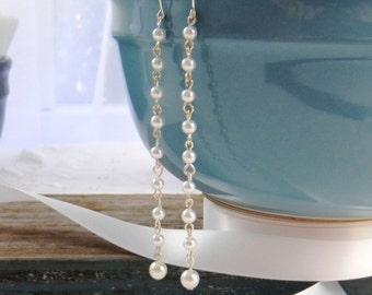 Long Pearl Wedding Earrings Bridal Earrings Wedding Jewelry Pearl Earrings Dangle Earrings Womens Fashion Jewelry