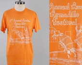 Vintage 80s 1st Annual Armadillo Festival t shirt / Soft and thin tee / Collectible TEXAS t shirt