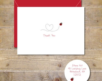 Ladybug Thank You Cards, Thank You Notes, Ladybugs, Lady Bug Note Cards, Note Cards, Ladybug, Stationery, Stationary