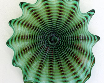 Beautiful Hand Blown Glass Art Wall Platter Bowl 6416 Green ONEIL