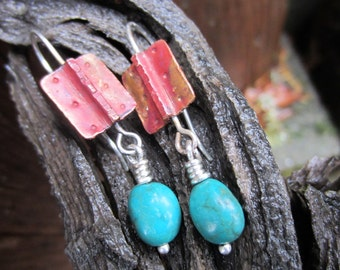 Copper Turquoise and Silver Dangle Earrings