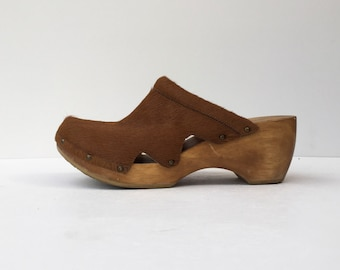 Vintage Pony Calf Hair 1990's Wooden Swedish Slip On Minimalist Wedge Platform Clogs 10 43