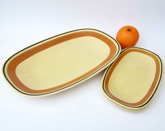 1970s French vintage ceramic DISHES⎮Gien France Gallia⎮yellow orange black⎮1 large 2 small⎮kitchen home decor⎮mid century modern⎮set of 3