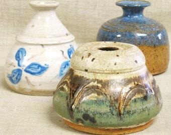 Collection of Vintage Bud Vase, Studio Ceramics, Pottery, Handmade, Group of 3, Small Vase, Grouping, Art, Vessels, Flower Vase, Rustic