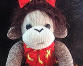 Baby Sock Monkey Leila.  Large Rockford Red Heel sock monkey.  Made by hand in the USA.