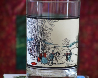 Water Glass/Arby's Currier and Ives Glass/Winter Pastime Glass/Old Fashion Holiday Glass/Gift for Barware/1978