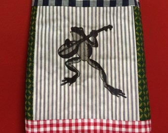 Froggy went a courting QUILTED TOTE bag handmade banjo pearlsnap Tanzania textile Shweshwe vintage fabric