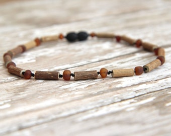 Raw Baltic Amber and Hazelwood Teething Necklace, unpolished, baby, toddler, adult, natural pain relief, acid reflux, heartburn, eczema