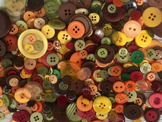 "200+ Mixed Buttons, ""Autumn"" shades, 2 hole, 4 hole, Orange, Yellow, Brown, Green, Red and More, Sewing, Crafting, Embellishments"