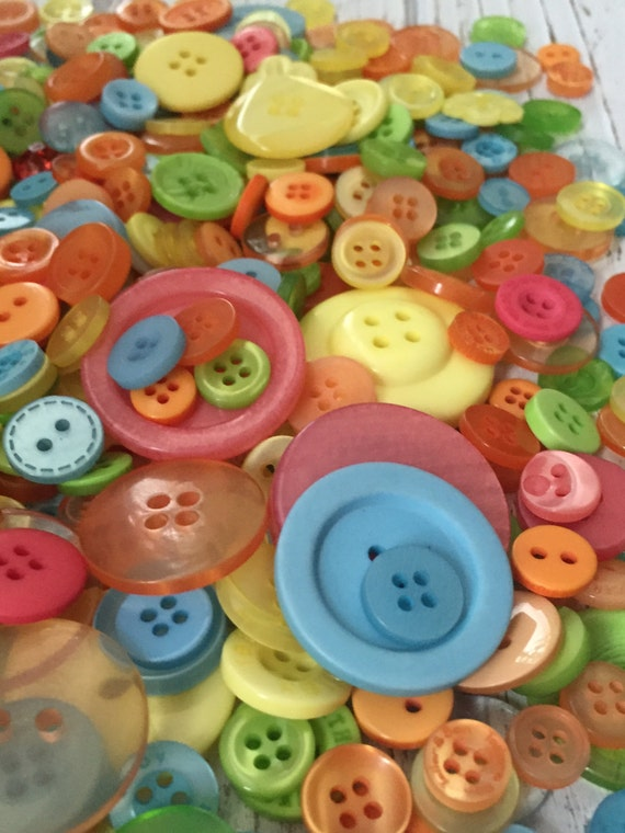 "200+ Mixed Buttons, ""Citrus Splash"", 2 hole, 4 hole, Pink, Blue, Green, Yellow & More, sewing, crafting buttons, embellishments"