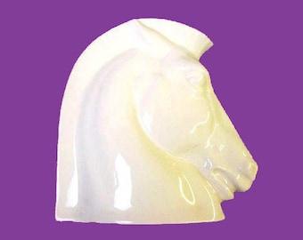 1930s Art Deco Porcelain Czech Roman Horse Head Table Sculpture - Cream Glaze - Made in Czechoslovakia