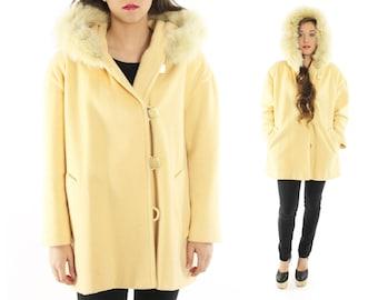Vintage 80s Buttercream Wool Coat Huge Fur Hood Hooded 1980s Winter Coat Jacket Large L XL