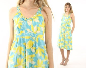 Vintage 60s Lilly Pulitzer Dress Blue Yellow Floral Sleeveless Sundress 1970s Small S Designer Fashion Shift Sheath Babydoll