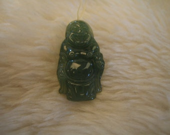 LAUGHING BUDDHA  ..  Natural Olive Green Jade Pendant