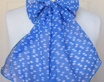 Multi Use Chiffon Hair Scarf - White and Light Blue Polka Dot