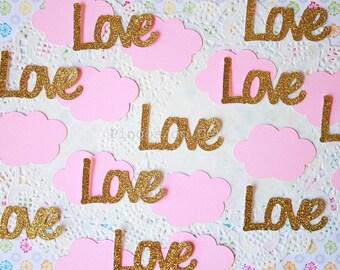 50 Confettis - Love or Cloud Confetti - Glitter Confetti - Wedding - Baby Shower Confetti - Valentines Day Confetti - Made to Order