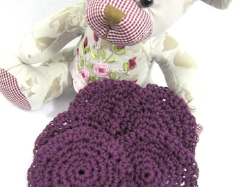 Cotton Facial Cloths, Reusable Make Up Removers, Beauty Cloths, Facial Scrubbies All Cotton Purple Face Scrubbies by Charlene Gift for Mom