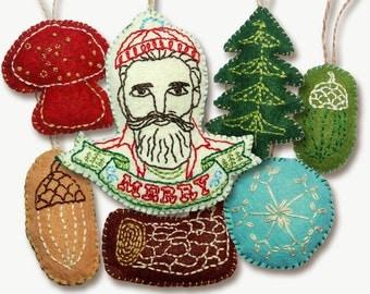 Lumberjack Woodland Felt Embroidered Christmas Ornament Patterns
