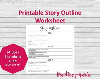 Story Outline Worksheet Printable Traveler's Notebook Pages, Midori Inserts, Bullet Journal Standard Size