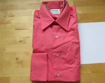 1960s 1970s Unworn Men's Salmon Pink Dress Shirt by Van Heusen Century - Size 16/33 French Cuffs