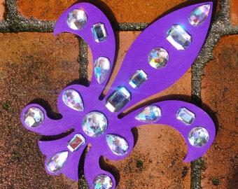 Purple Fleur de Lis Rhinestone Wooden Wall Decor, Rich Purple Iridescent Jewel Fleur de Lis Decoration, Aurora Borealis Crystal Fleur de Lis
