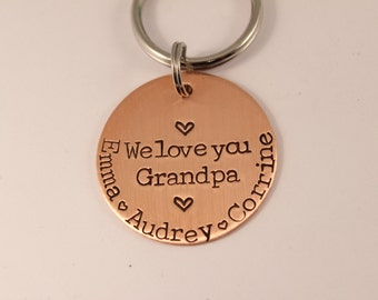 We Love You Grandpa - Hand stamped, personalized copper keychain.