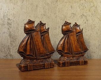 Vintage Bookends Syroco Wood Ships