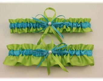 Apple Green and Turquoise Wedding Garter Set. Bridal Garter Set  (Your Choice, Single or Set)