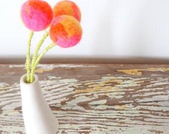 Pom pom flowers.  Bright Pink Fake flowers.  Neon Flowers.  Billy balls, Billy Buttons.  Orange Wool Felt Balls.  Marble, marbled decor.