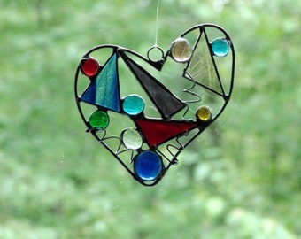 Stained glass funky heart suncatcher, abstract heart gift under 40, colorful heart art, window decoration, unique ooak