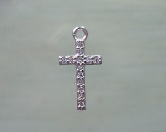 925 Sterling Silver Diamond CZ Small Cross Pendant Charm finding, 16x8mm, PC-0122