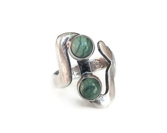 Mexican Sterling Ring, Green Turquoise, Modernist Ring, Mexico MLV 925, Eagle 3, Vintage Ring, Sterling Ring, Vintage Jewelry, Size 6