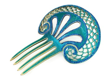 Art Deco Blue Green Celluloid Rhinestone Hair Comb - Teal Blue, Decorative Hair Accessory, Antique Comb, Tiara, Chignon, Art Deco Hair Comb