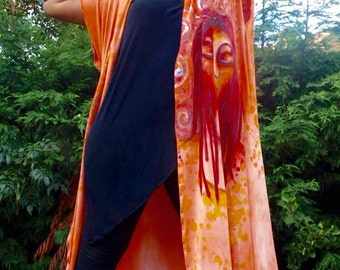 Luxurious hand dyed and  painted loose loose fit  cotton jersey  waistcoat.