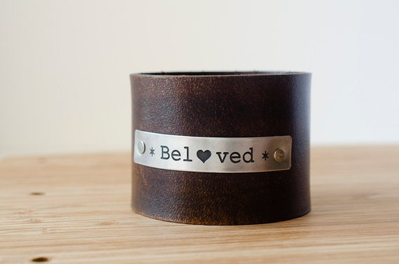 Beloved Custom Text on Wide Distressed Leather Cuff