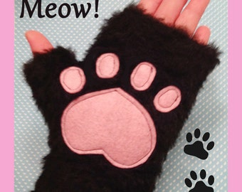 Meow Kitty Paws Mitts Gloves Pink Black Faux Fur Cat Gloves Cosplay Cat Costume
