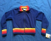 70s Jacket / Zip Up Rainbow Top / Seventies Roller Girl Babe Jacket / Navy Blue with yellow and Red