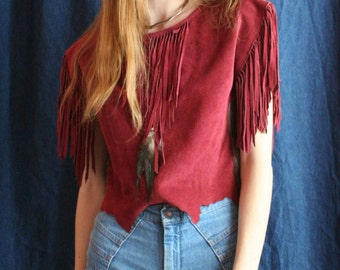 Suede Leather Shirt / 70's Leather Blouse / Fringe Suede Top / Rabbit Fur Shirt / Maroon 1970's Stagewear / Seventies Southwest Fringe