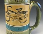 Bicycle Mug, Coffee Mug Handmade, Chain Sprocket Mug, , Stoneware Mug, Mountain Bike Coffee Mug, Tea Mug, Handbuilt Bike Mug
