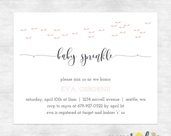 modern baby shower invitation / girl baby shower invitations / baby shower invites girl / printed invitations