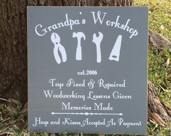 Workshop Sign ~ Father's Day Gift For Grandpa ~ READY TO SHIP ~ Garage Sign ~ Man Cave Sign ~ Grandpa's Workshop Custom Wood Sign
